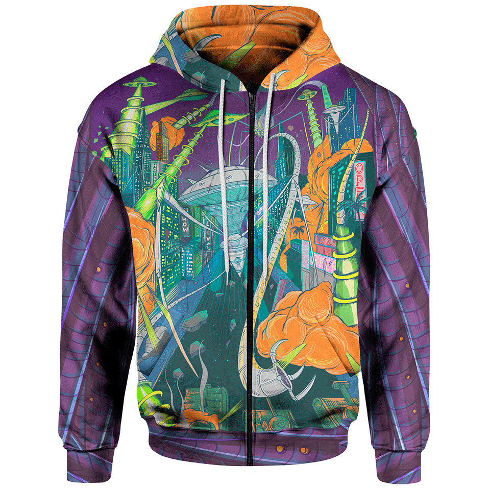 Space Invasion Zip Hoodie