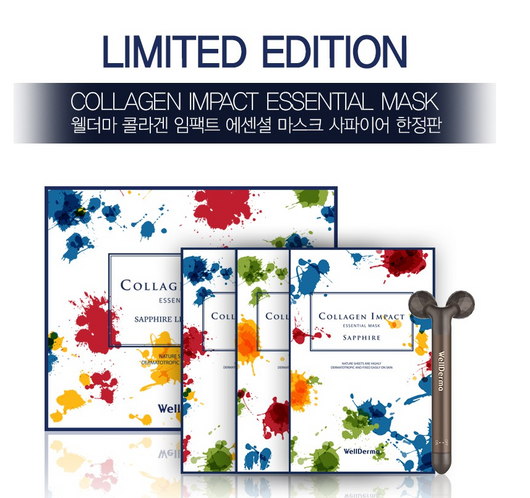 WellDerma Collagen Impact Essential Mask Sapphire Limited Edition, 30 sheets+1 Free Face Lifting Roller