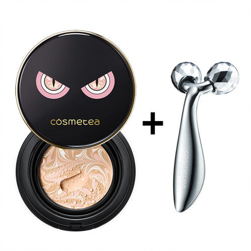 Cosmetea Milk Tea EE Cream Foundation Pact, 15g+1 refill+1 Silicone Puff+1 DRN Face Lifting 4D Roller