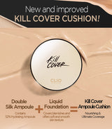 Clio Kill Cover Liquid Founwear Ampoule Cushion SPF50+/PA+++, 15g+1 Refill