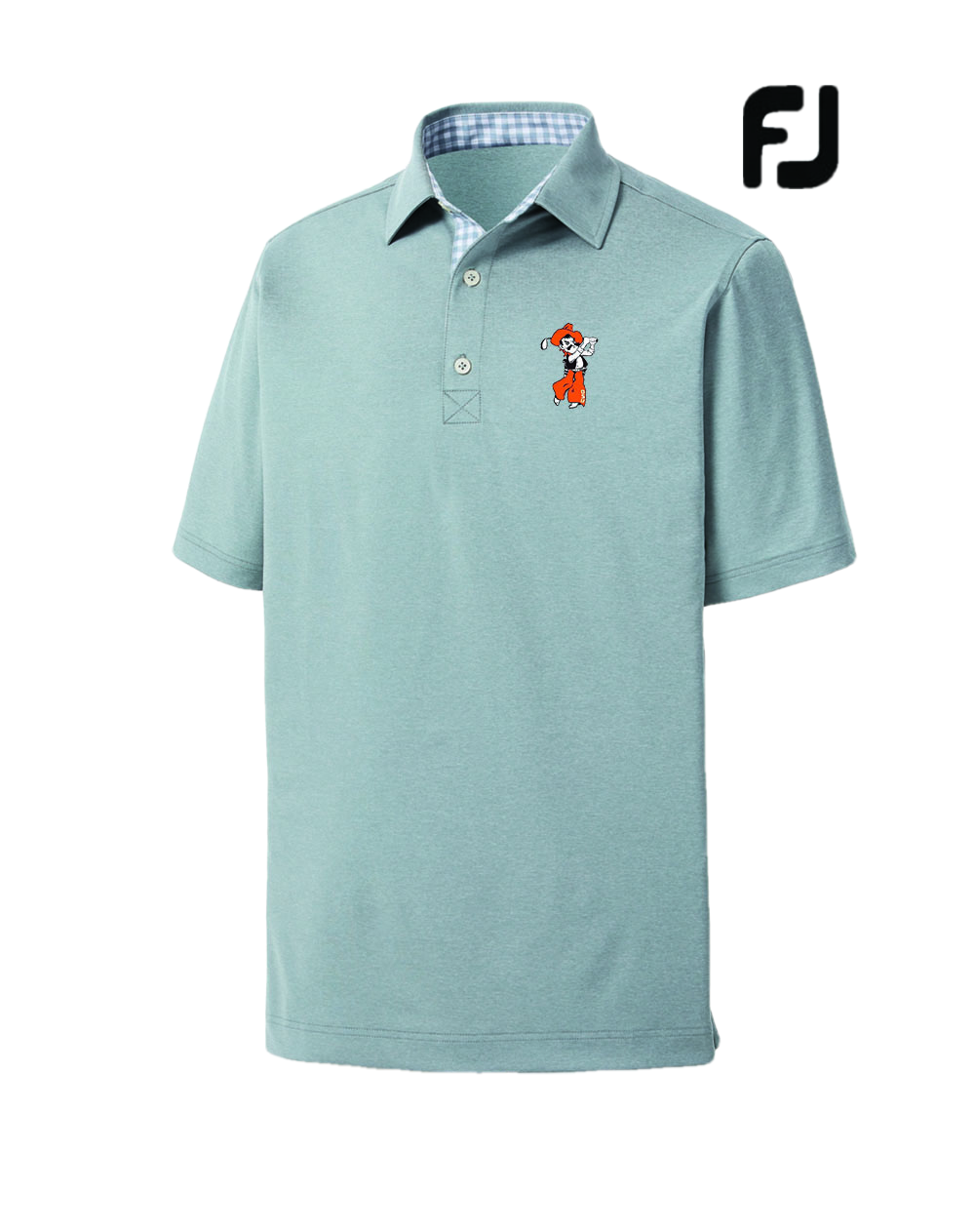 FootJoy Athletic Fit Lisle Solid Gingham Polo