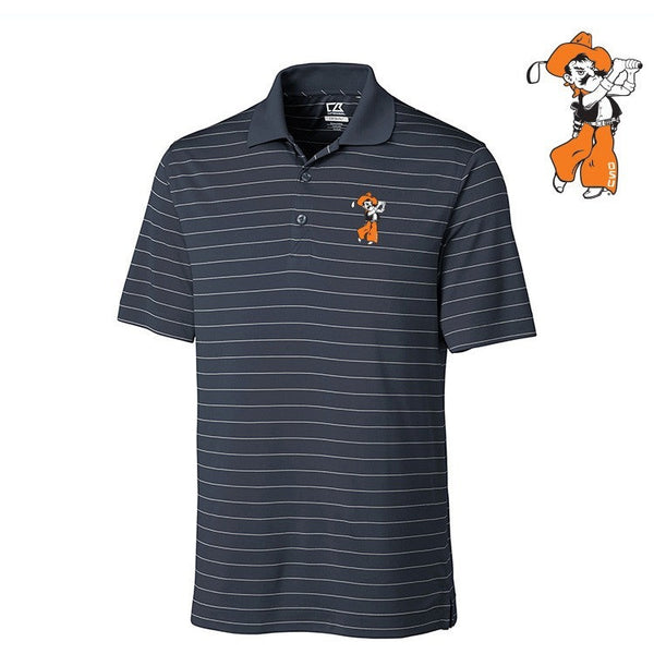 C&B Mens Franklin Stripe Golf Shirt - Embroidered Logo