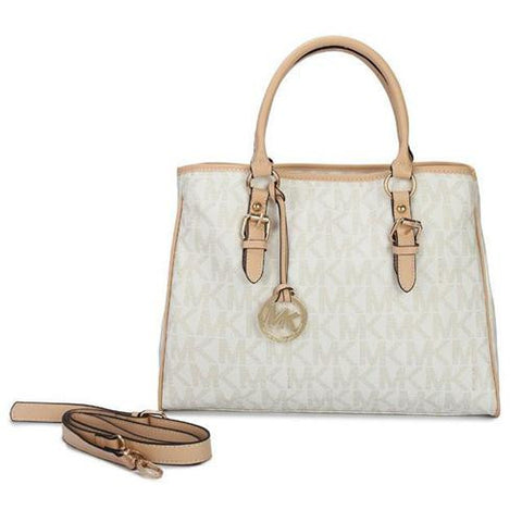 ab31b55f18d9e8 Michael Kors Jet Set Logo Work Medium White Totes Outlet – Michael ...