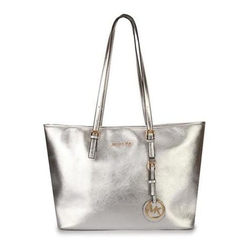 eb16f41c3845d1 Michael Kors Jet Set Travel Medium Silver Totes – Michael Kors STORE ...