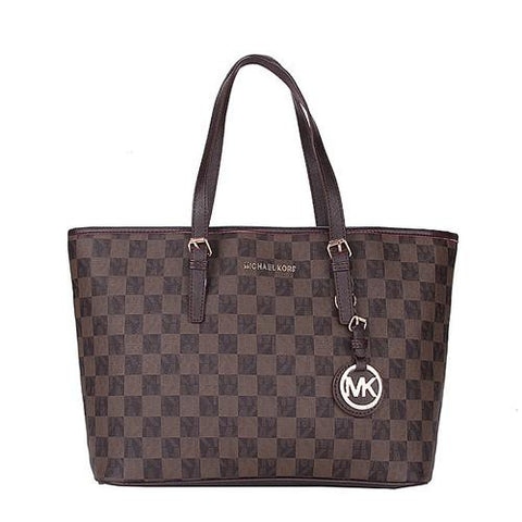 0826b7effe82f1 Michael Kors Jet Set Travel Logo Checkerboard Medium Coffee Totes ...