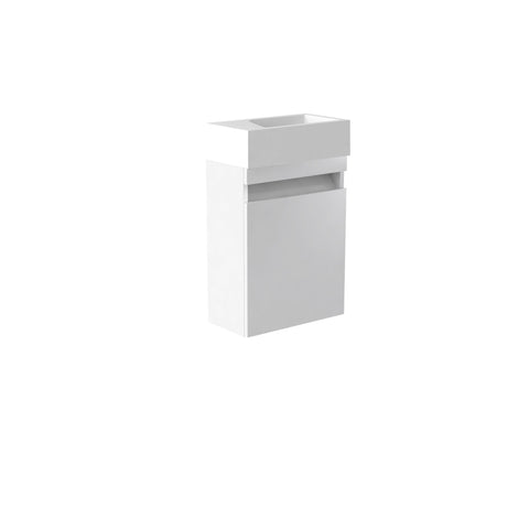 Vernazza 400mm Wall Mounted Vanity Cloakroom Unit White & Ceramic Basin