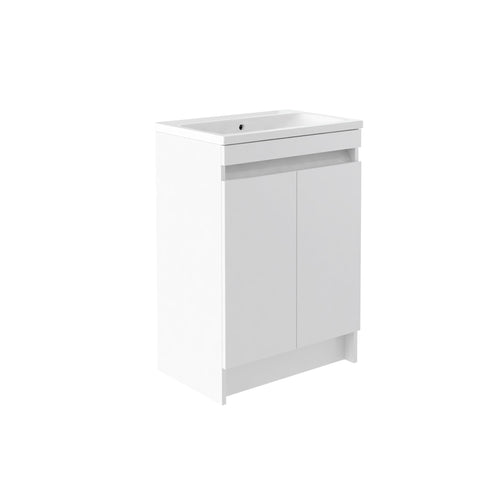 Vernazza 600mm Floor Standing Vanity Drawer Unit White & Ceramic Basin