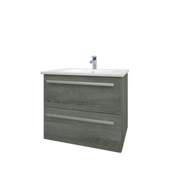 Roma 600mm Wall Hung Vanity Unit & Ceramic Basin Grey Ash