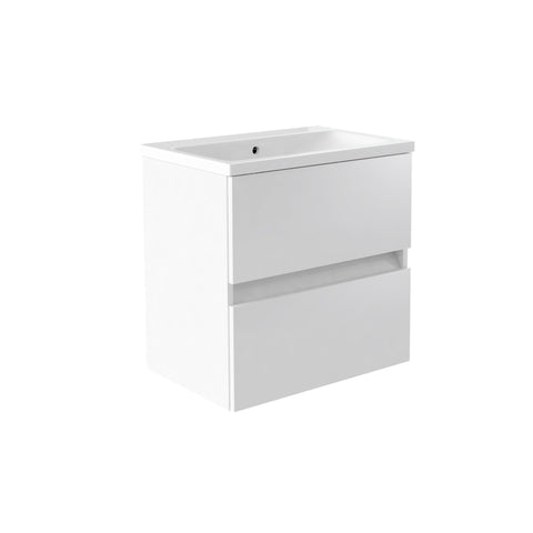 Vernazza 600mm Wall Mounted Vanity Drawer Unit White & Ceramic Basin