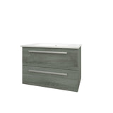 Roma 750mm Wall Hung Vanity Unit & Ceramic Basin Grey Ash
