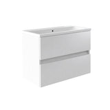 Vernazza 800mm Wall Mounted Vanity Drawer Unit White & Ceramic Basin