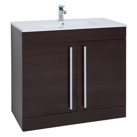 Roma 900mm Vanity Unit & Ceramic Basin Chestnut