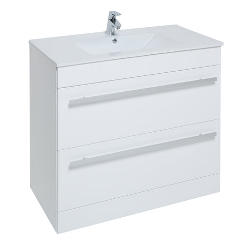 Roma 900mm Wall Hung Vanity Unit & Ceramic Basin White