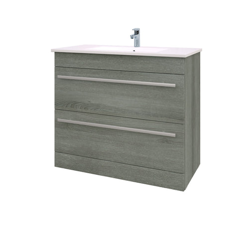 Roma 900mm Vanity Unit & Ceramic Basin Grey Ash