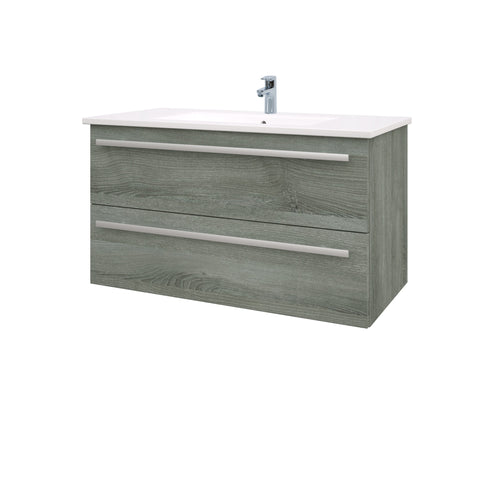 Roma 900mm Wall Hung Vanity Unit & Ceramic Basin Grey Ash