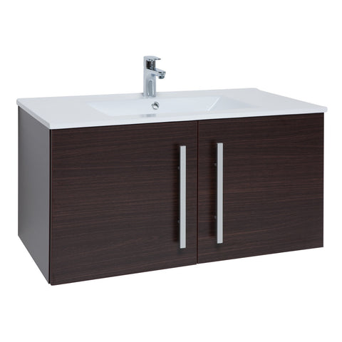 Roma 900mm Wall Hung Vanity Unit & Ceramic Basin Chestnut