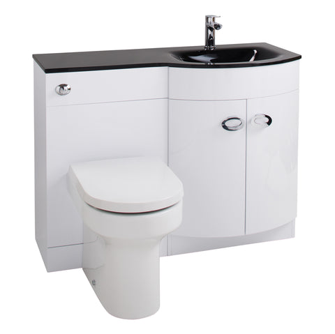 Titan D-Shaped 1100mm Vanity & WC Unit Toilet Furniture Black