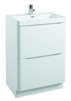 Corla Premium 600mm Freestanding Vanity Unit & Ceramic Basin Gloss White