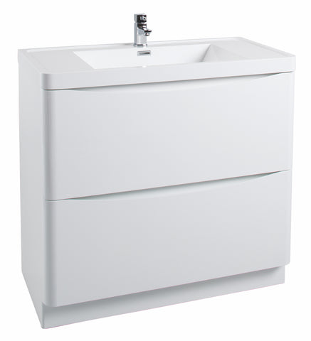 Corla Premium 900mm Freestanding Vanity Unit & Ceramic Basin Gloss White