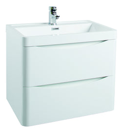 Corla Premium 600mm Wall Hung Vanity Unit & Ceramic Basin Gloss White