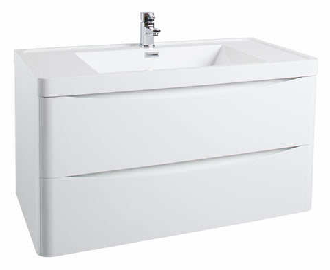 Corla Premium 900mm Wall Hung Vanity Unit & Ceramic Basin Gloss White