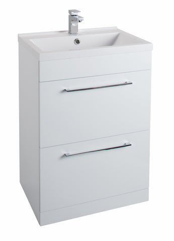 Veratti 600mm Floor Standing Vanity Unit & Ceramic Basin White