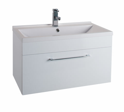 Veratti 600mm Wall Hung Vanity Unit & Ceramic Basin White