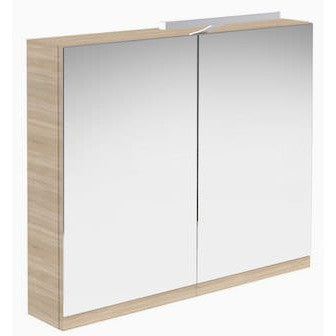 Vernazza 600mm Mirror Cabinet Oak with Light & Shaver Socket