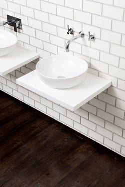Ivora Wall Hung Vessel Bowl & Floating Shelf White