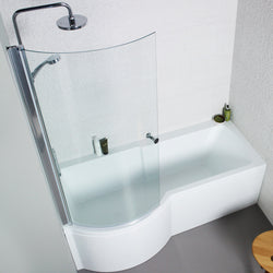 Girona P Shaped Shower Bath with Front and End Panel & Shower Screen