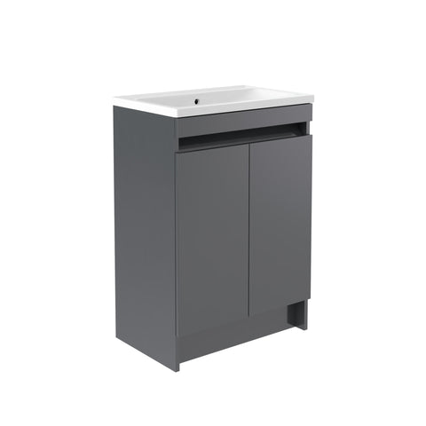 Vernazza 600mm Floor Standing Vanity Drawer Unit Grey & Ceramic Basin