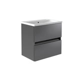 Vernazza 600mm Wall Mounted Vanity Drawer Unit Grey & Ceramic Basin