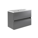 Vernazza 800mm Wall Mounted Vanity Drawer Unit Grey & Ceramic Basin