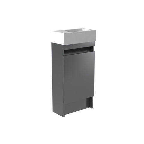 Vernazza 400mm Floor Standing Vanity Cloakroom Unit Grey & Ceramic Basin