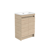Vernazza 600mm Floor Standing Vanity Drawer Unit Oak & Ceramic Basin