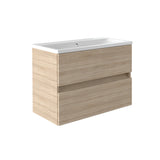 Vernazza 800mm Wall Mounted Vanity Drawer Unit Oak & Ceramic Basin