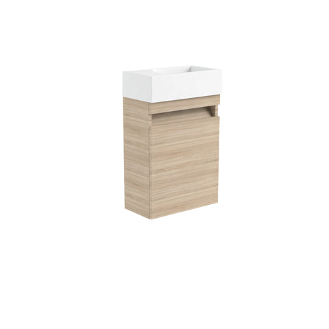 Vernazza 400mm Wall Mounted Vanity Cloakroom Unit Oak & Ceramic Basin