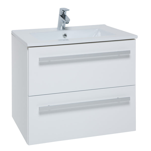 Roma 600mm Wall Hung Vanity Unit & Ceramic Basin White