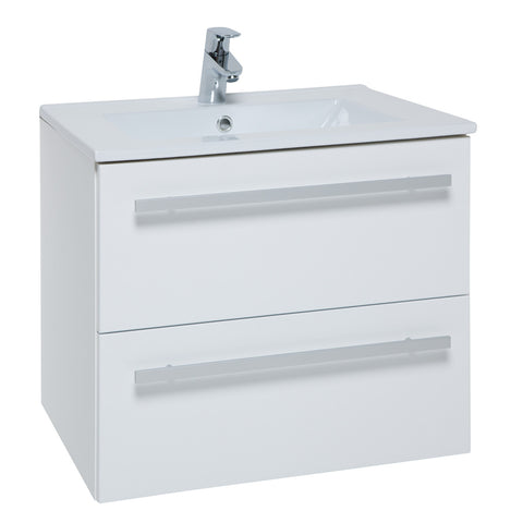 Roma 750mm Wall Hung Vanity Unit & Ceramic Basin White