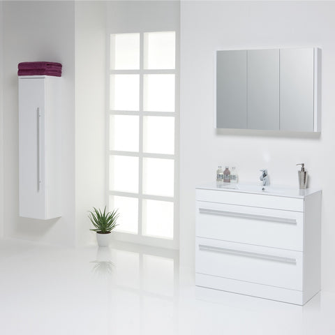 Roma 900mm Vanity Unit & Ceramic Basin White