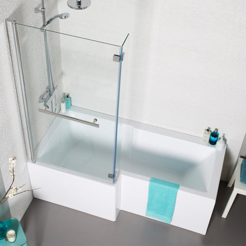 Gijon L Shaped Shower Bath with Front and End Panel & Shower Screen
