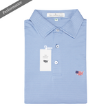 Lake Blue & White Azalea Stripe Performance Polo - Self Collar
