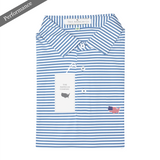 Lake Blue & White Classic Stripe Performance Polo - Self Collar