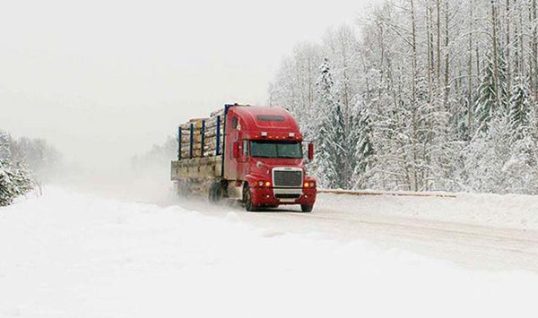 winter road conditions truck driving