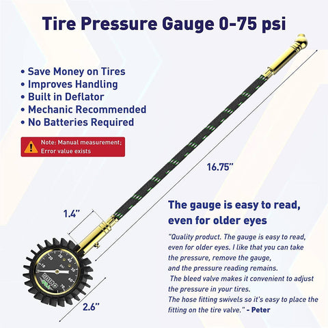 75 PSI Tire Pressure Gauge