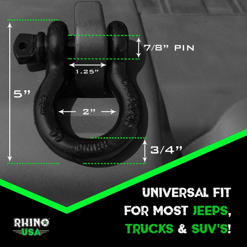"RHINO USA D Ring Shackles 3/4"" (2 Pack)"