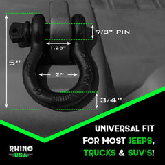 RHINO USA D Ring Shackles 3/4