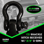 30' Tow Strap & Shackle Hitch Receiver Combo