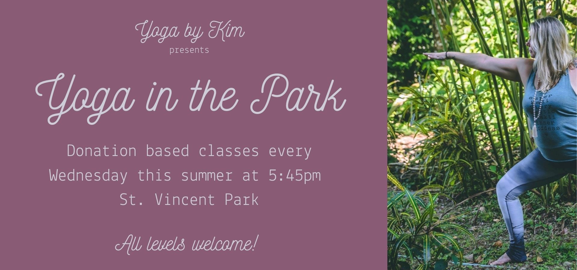Yoga by Kim presents Yoga in the Park every Wednesday this summer in Barrie, Ontario