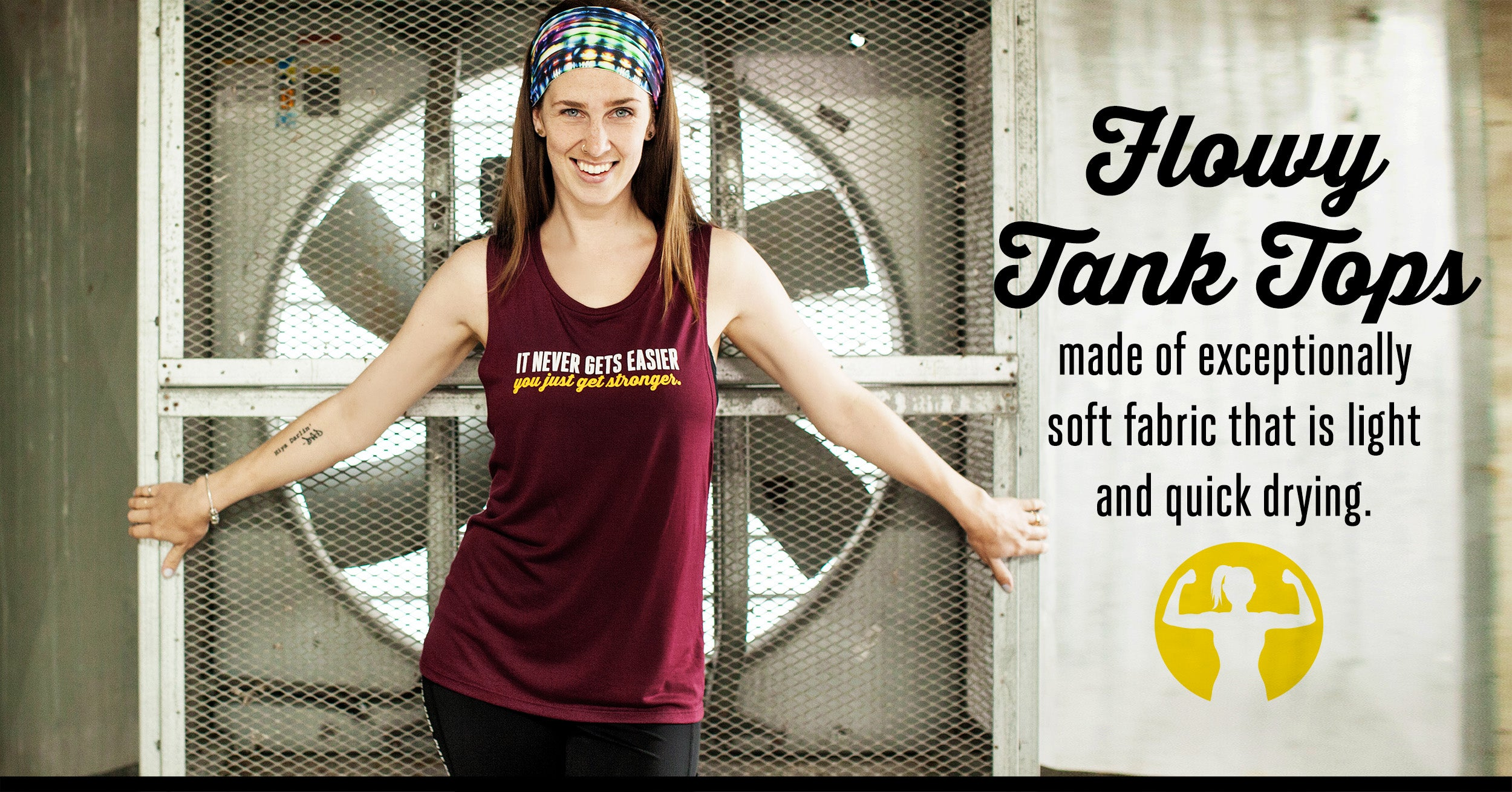 Flowy racerback tank tops for women - from Asskicker Activewear. Now available for Wholesale sales in Canada.